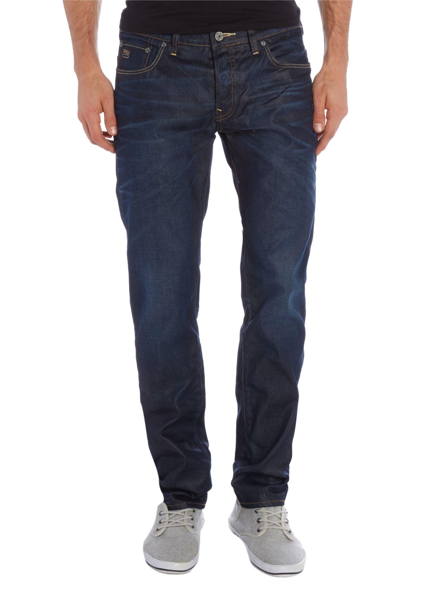 g star raw low tapered dark aged denim jeans in blue for men lyst. Black Bedroom Furniture Sets. Home Design Ideas