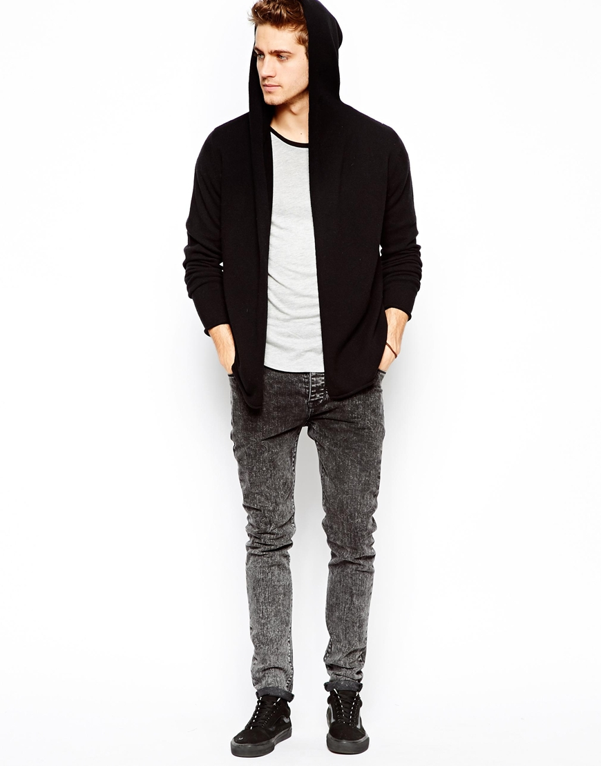 Asos Lambswool Rich Hooded Cardigan in Black for Men | Lyst