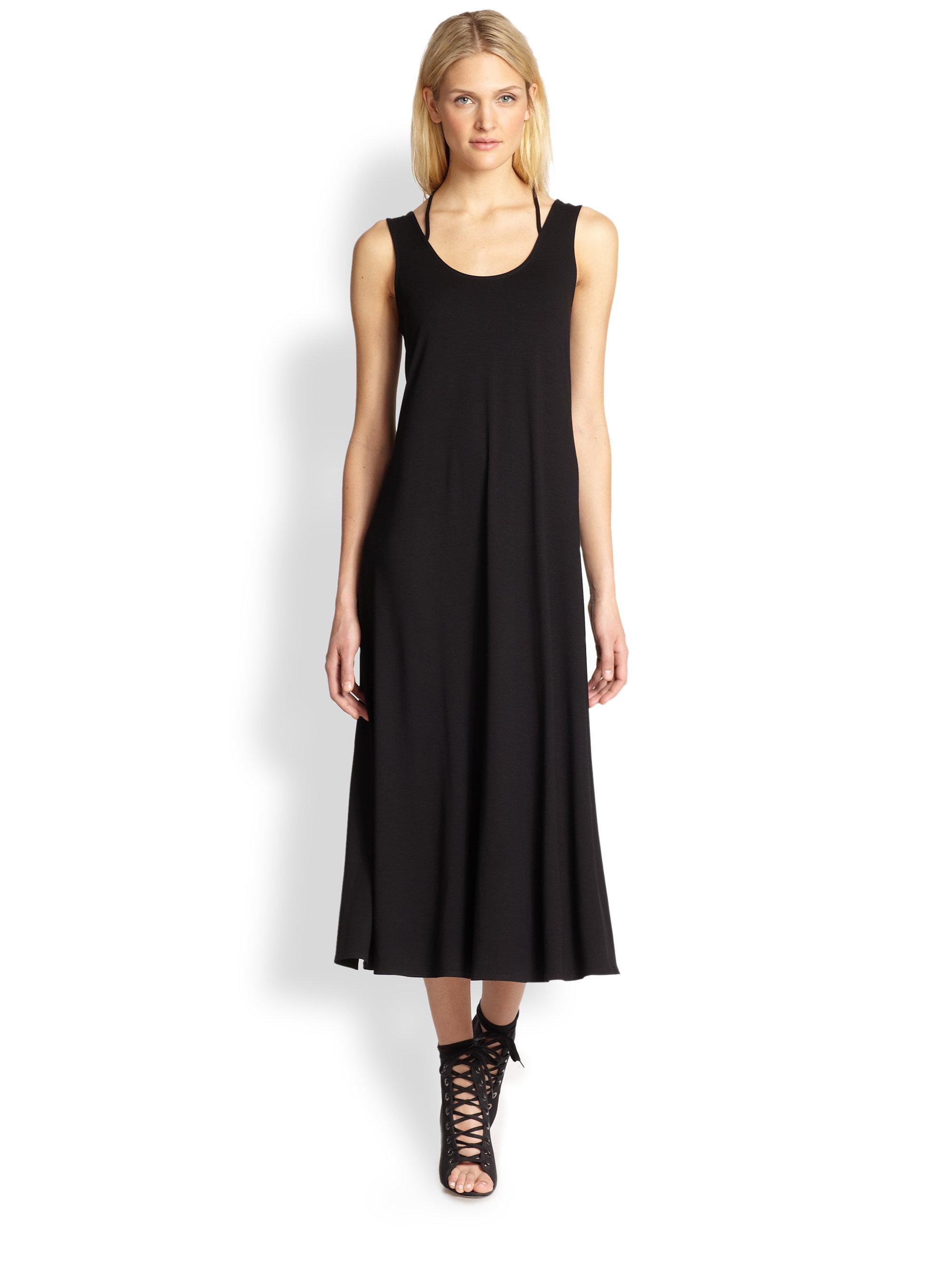 Eileen Fisher Jersey Scoopneck Long Dress In Black Lyst