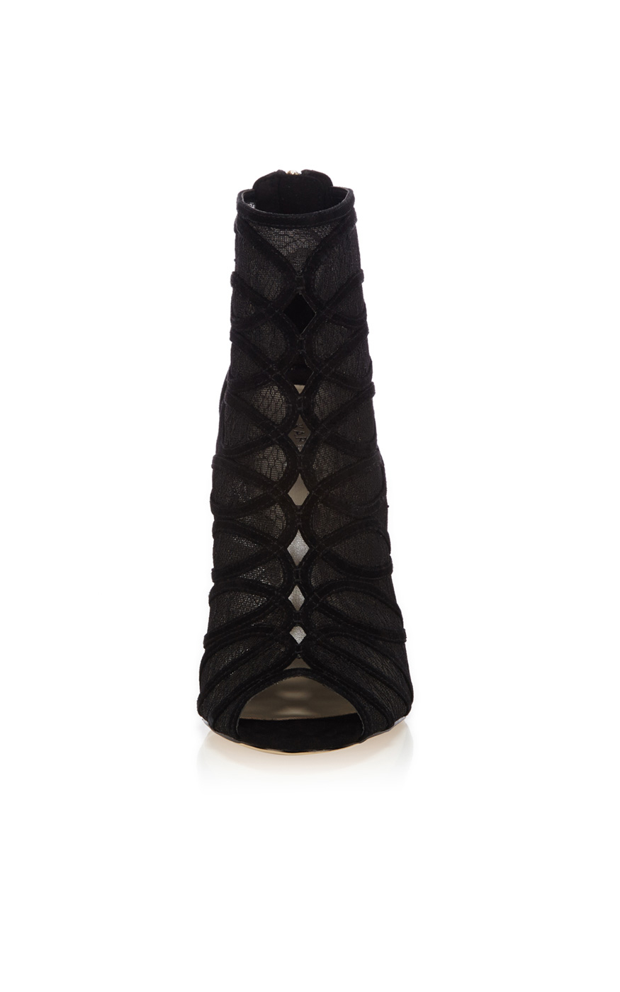 millen lace and suede shoe boot in black lyst