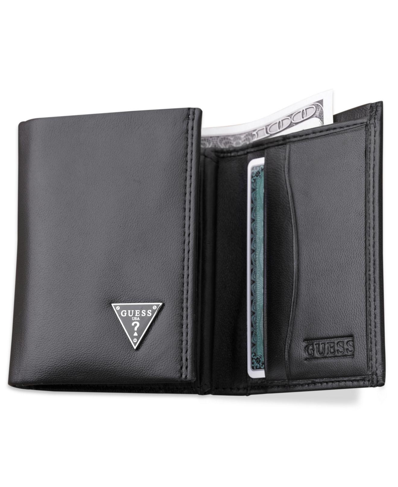 Guess Cruz Trifold Wallet In Black For Men Lyst