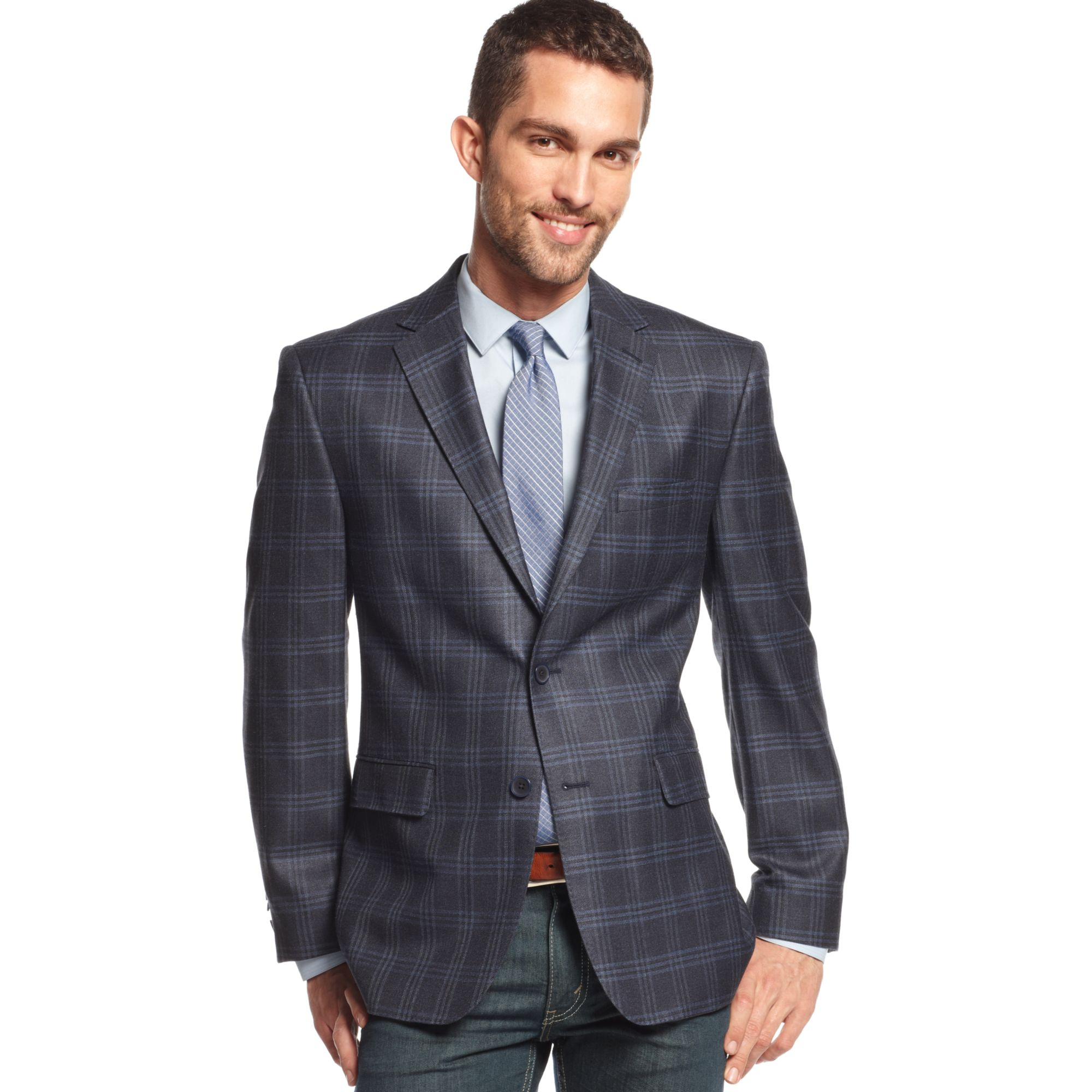 Vince camuto Navy Glen Plaid Trim Fit Sport Coat in Blue for Men ...