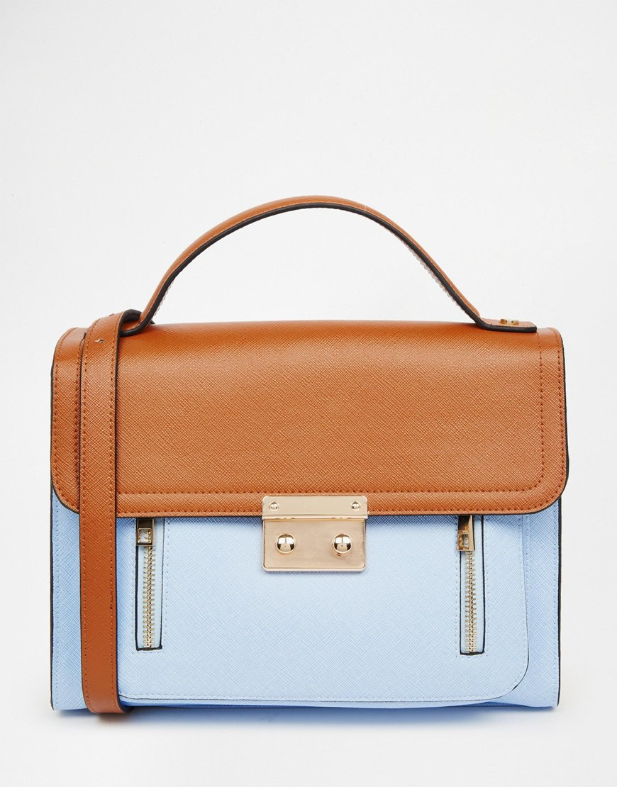 Lyst - ASOS Pushlock Color Block Satchel Bag in Blue 6b7f308e85da4