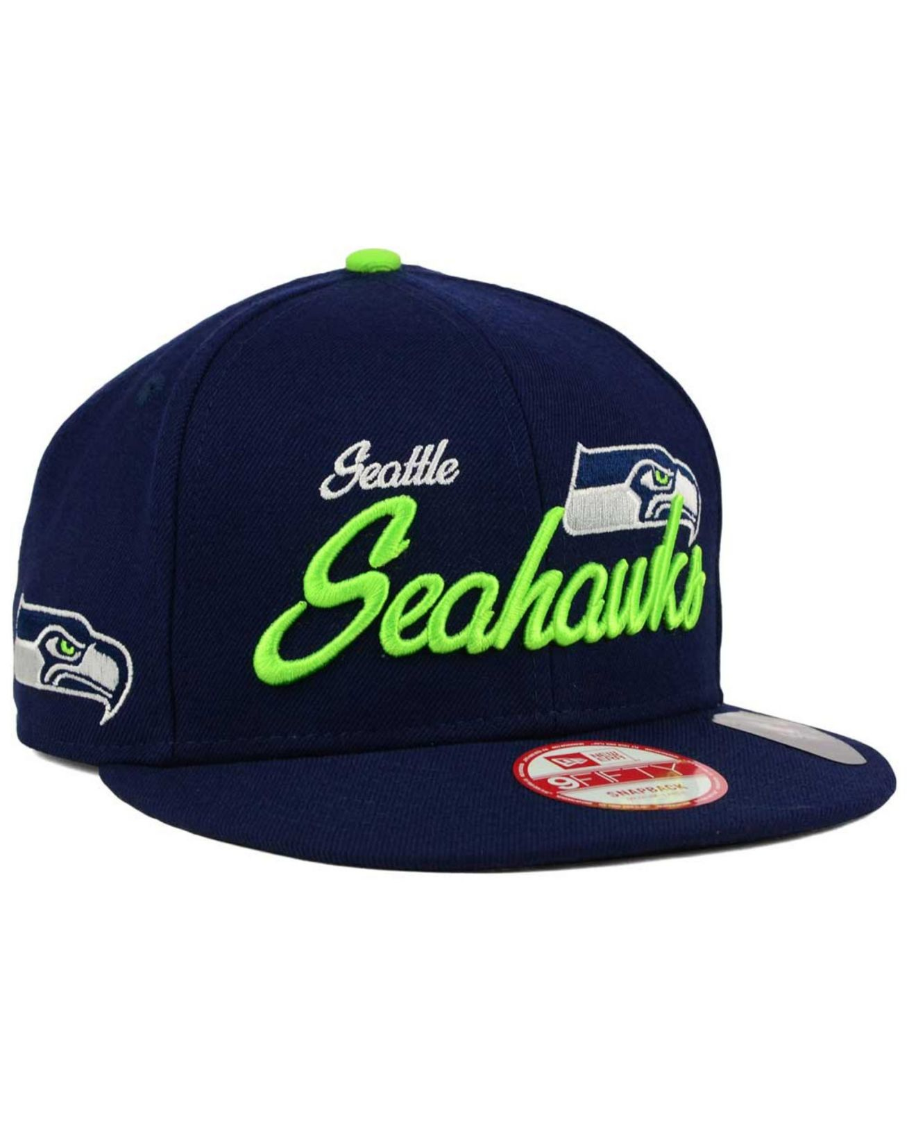 the latest 61b68 c3c18 KTZ Seattle Seahawks Chase Script Front 9fifty Snapback Cap in Blue ...