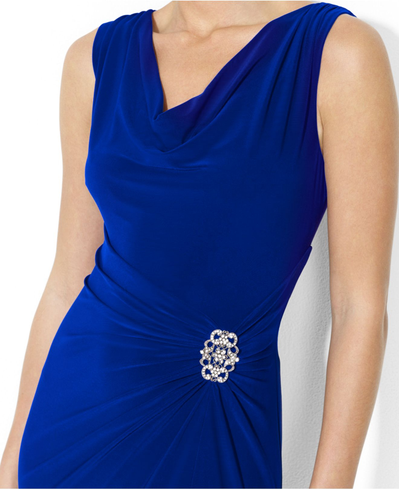 5716c4f8454 Lyst - Lauren by Ralph Lauren Sleeveless Cowl-Neck Jersey Gown in Blue