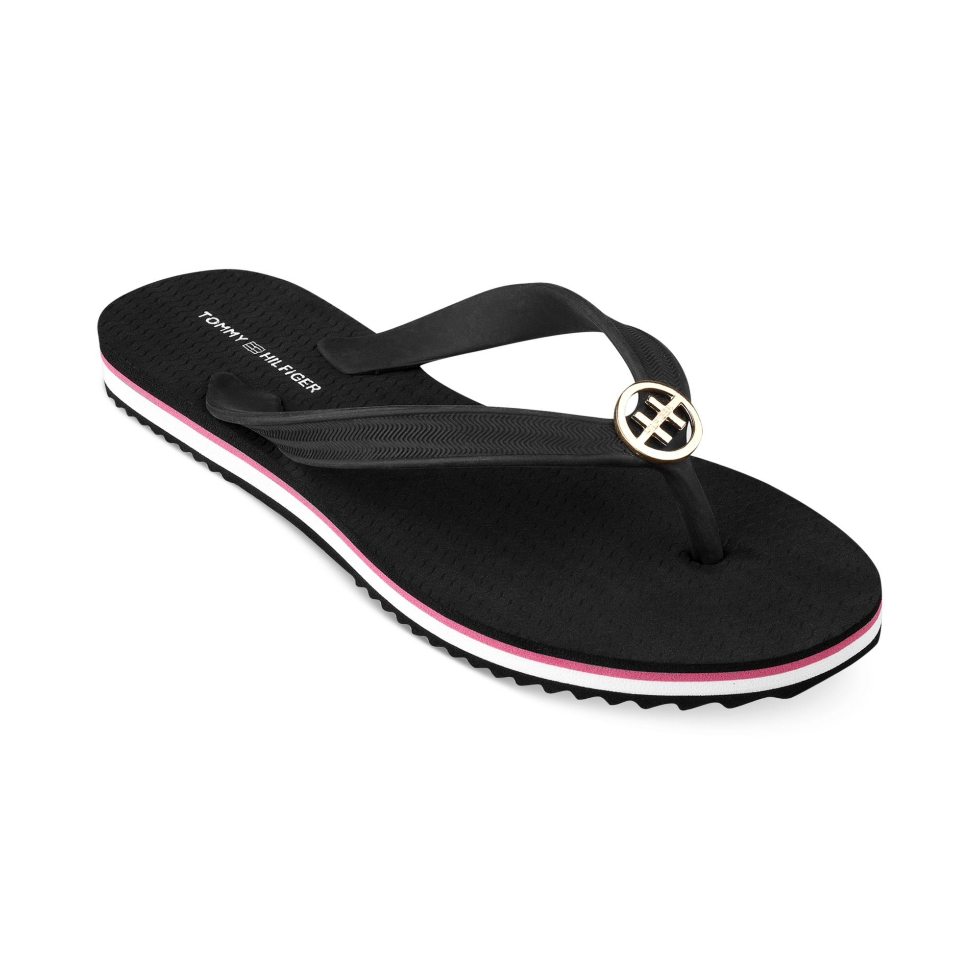 tommy hilfiger womens rosewood flip flops in black lyst. Black Bedroom Furniture Sets. Home Design Ideas
