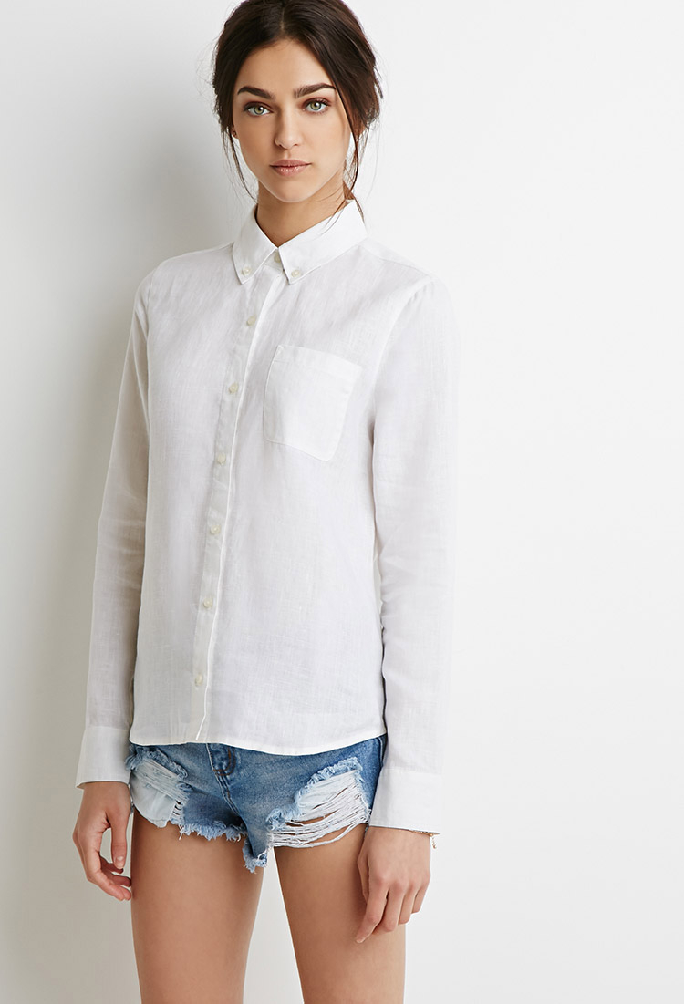 Forever 21 Linen Button-Collar Shirt in White