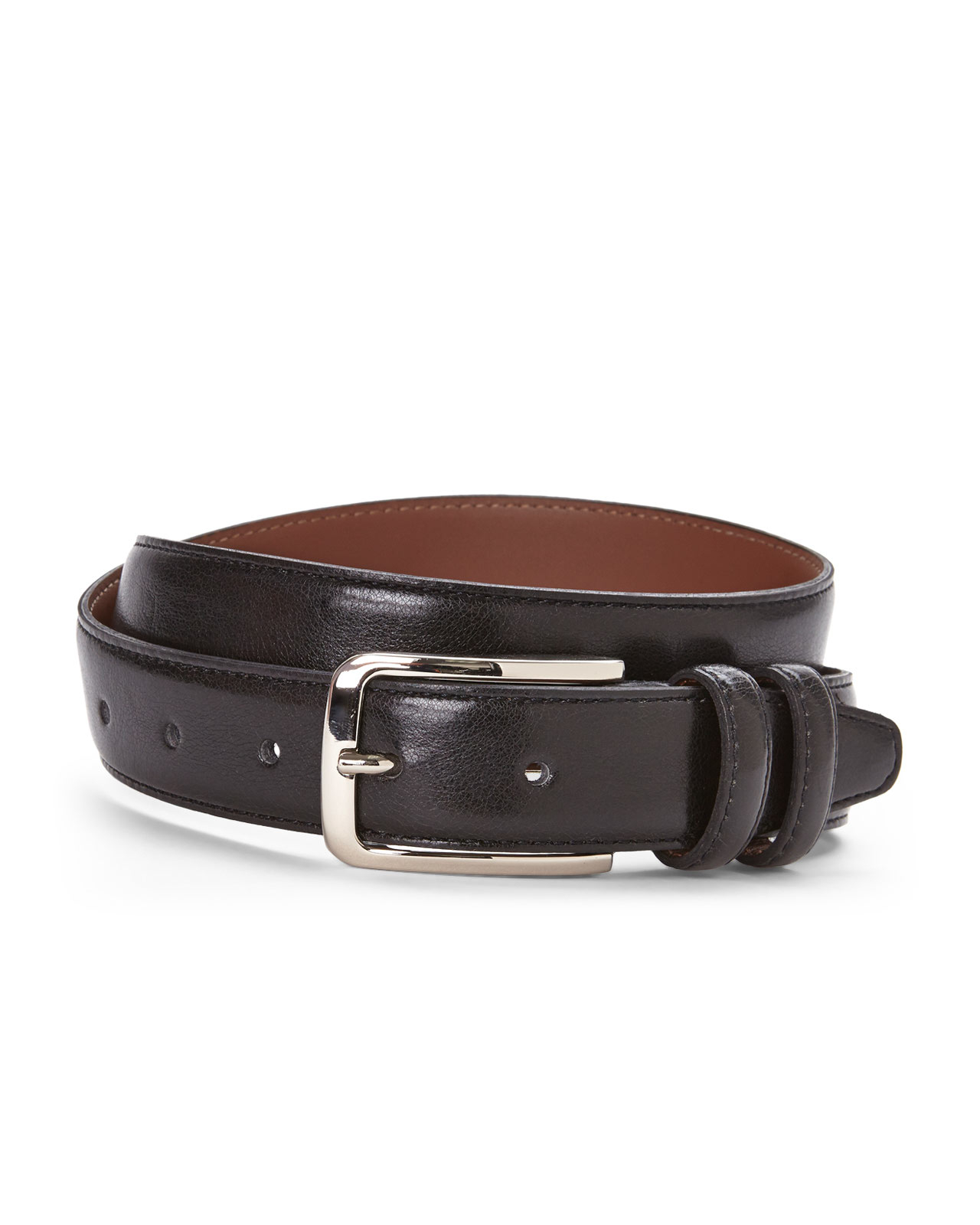 bosca loop leather belt in black for lyst