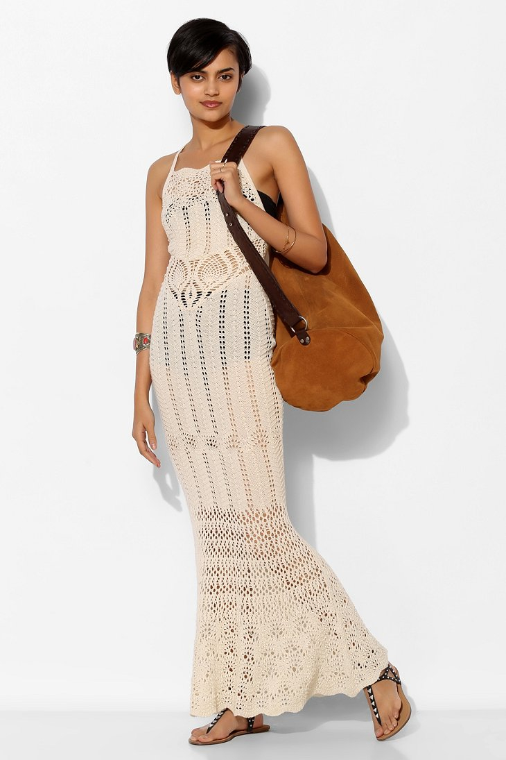 Ecote Sheer Crochet Maxi Dress in Natural | Lyst