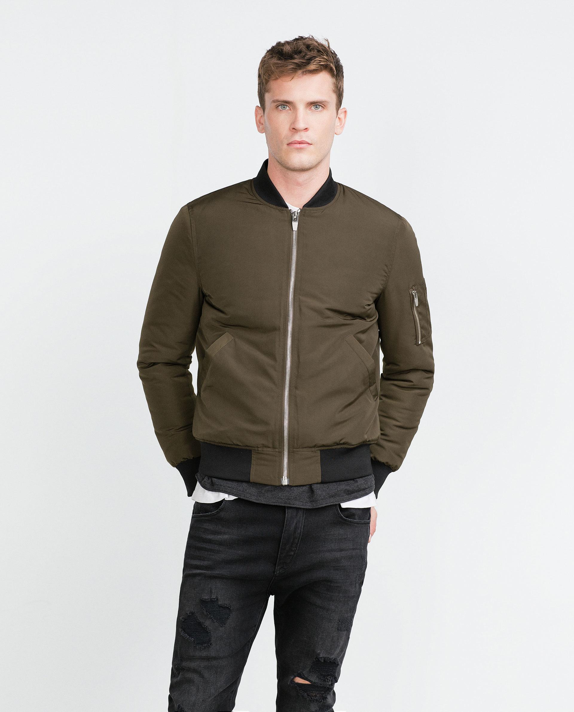 Zara Bomber Jacket In Natural For Men | Lyst