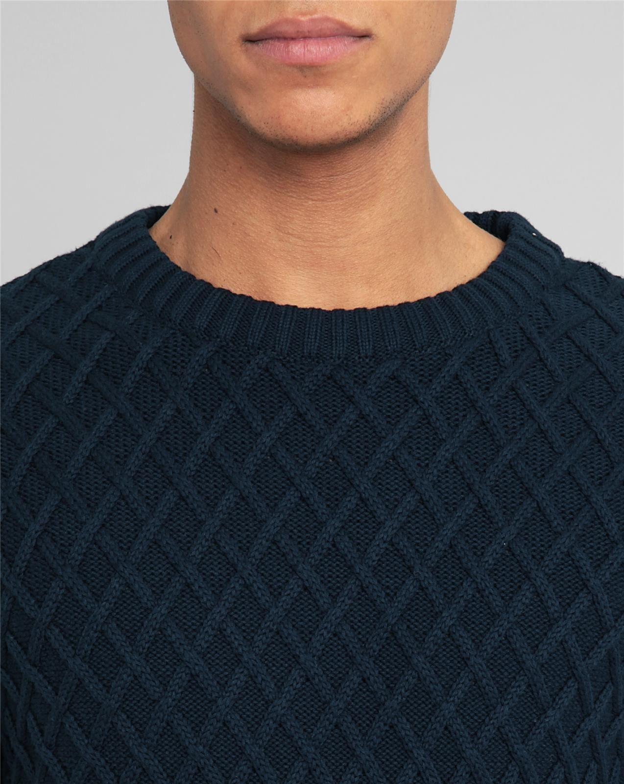 knowledge cotton apparel diamond knit navy round neck sweater in blue for men lyst. Black Bedroom Furniture Sets. Home Design Ideas