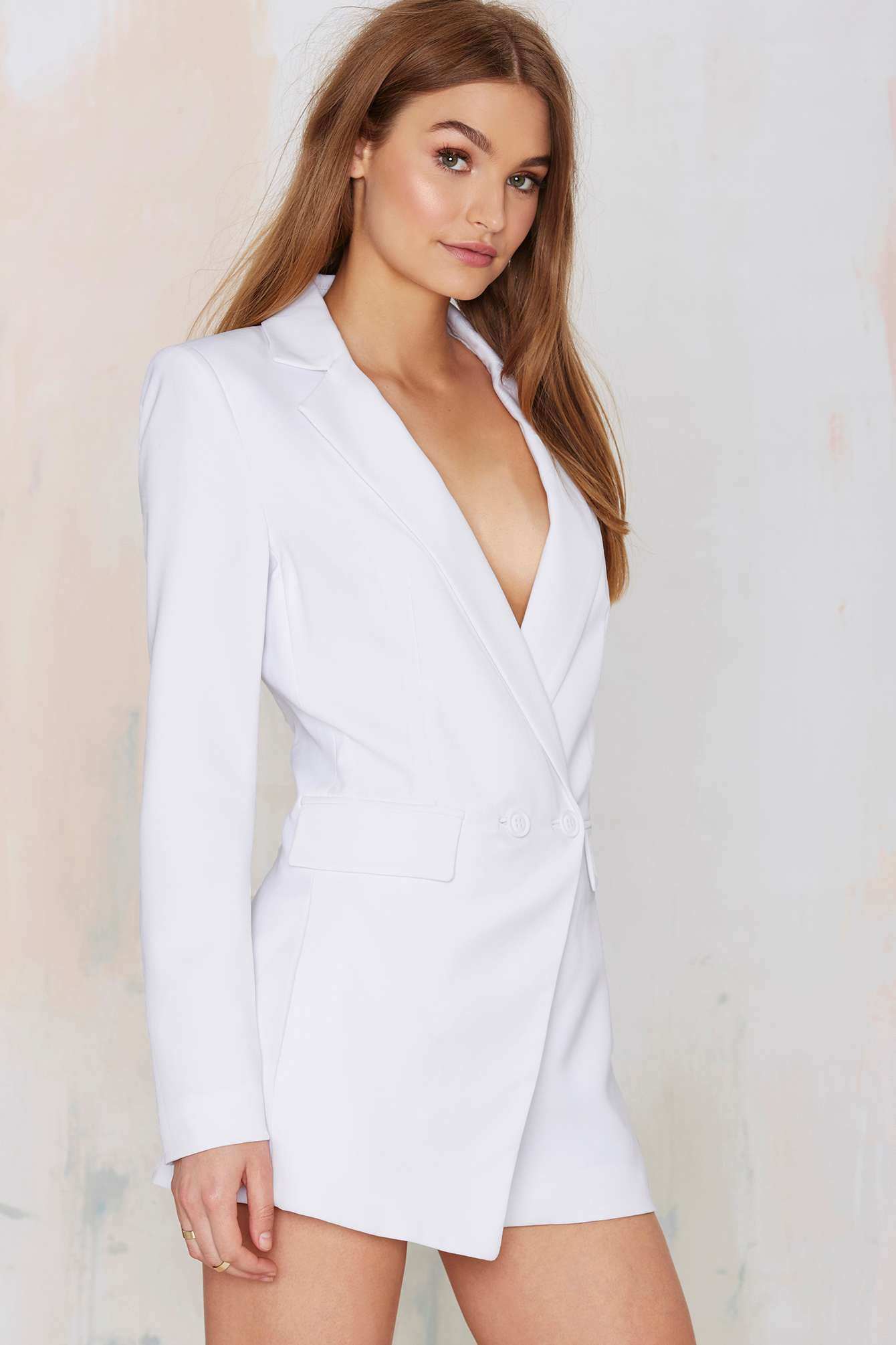 167b9e34d806 Nasty gal No Tux Given Blazer Romper in White