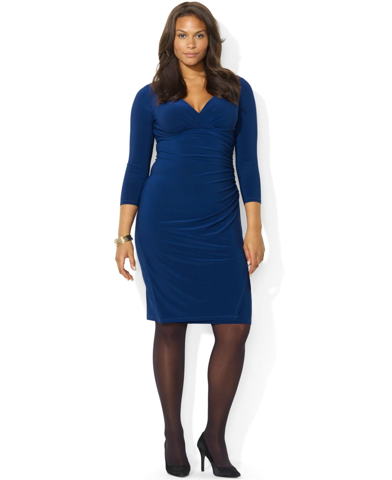 a107290b872 Lauren by Ralph Lauren Plus Size Long-Sleeve Ruched Jersey Dress in ...