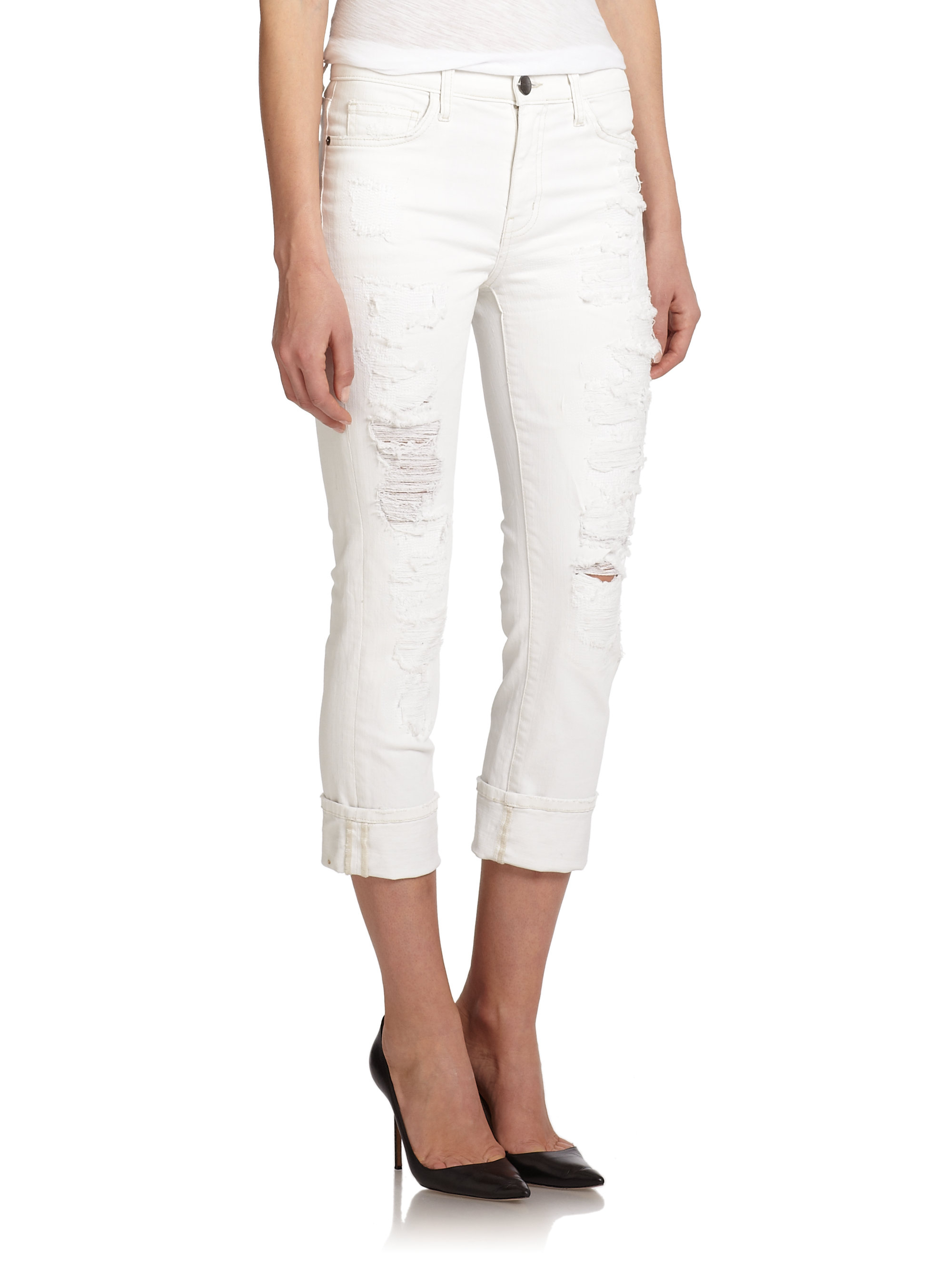 0eccc949805b Current/Elliott The Distressed High-rise Cropped Straight-leg Jeans ...