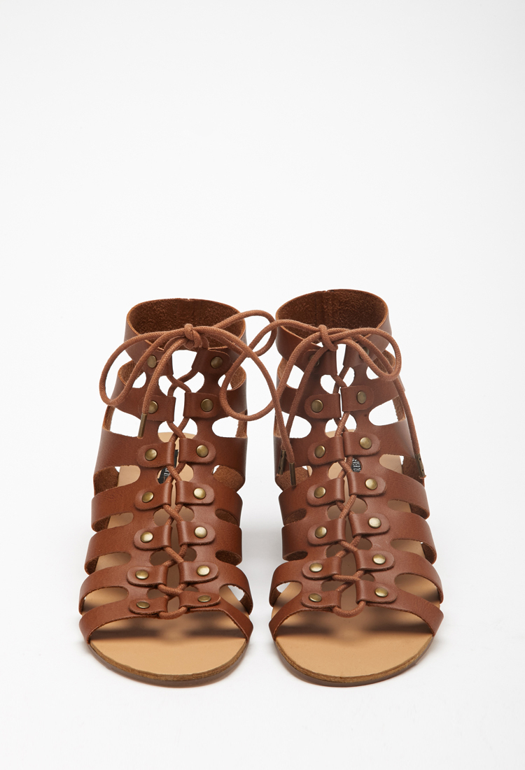 cfae8cd75f82 Forever 21 Lace-up Wedge Gladiator Sandals in Brown - Lyst