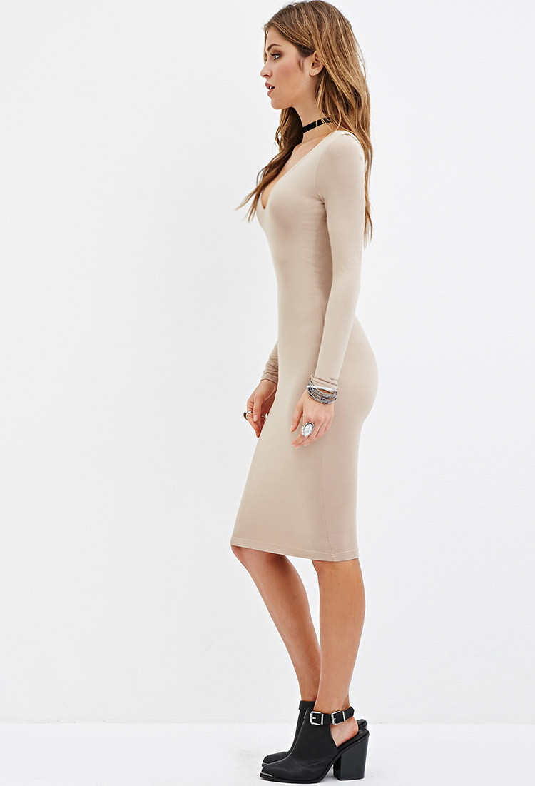 bc1d76d8378f Forever 21 V-neck Bodycon Dress You've Been Added To The Waitlist in  Natural - Lyst