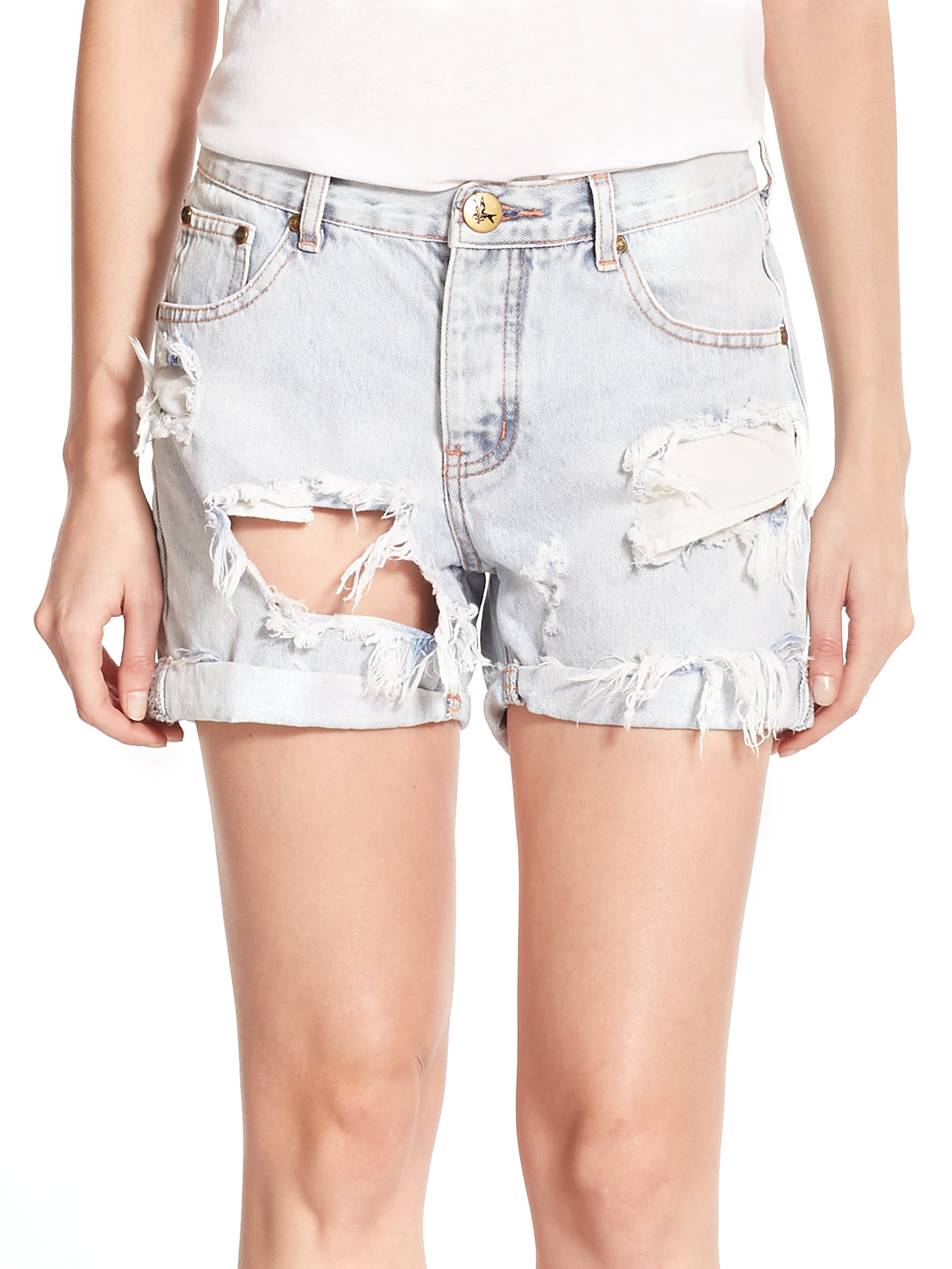 one teaspoon charger distressed denim shorts in blue lyst. Black Bedroom Furniture Sets. Home Design Ideas