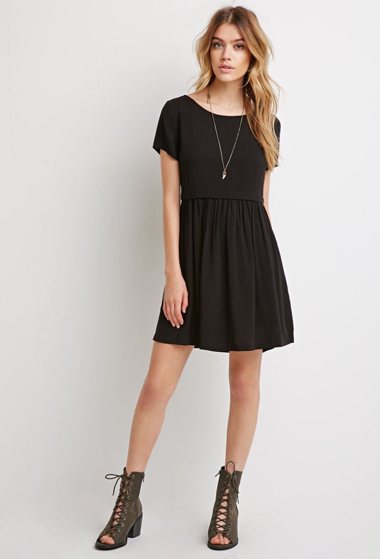 Forever 21 Cutout-back Babydoll Dress in Black | Lyst