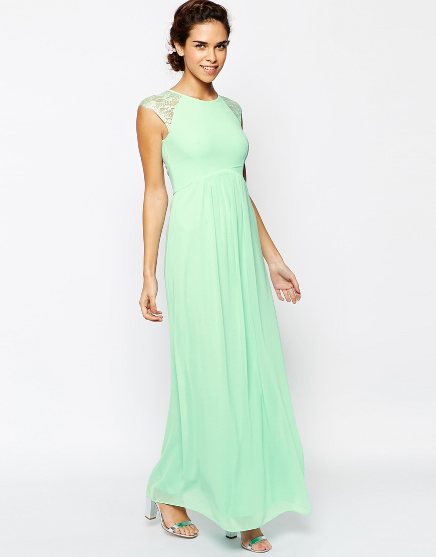 Elise ryan Pleated Maxi Dress With Lace Sleeve in Green | Lyst