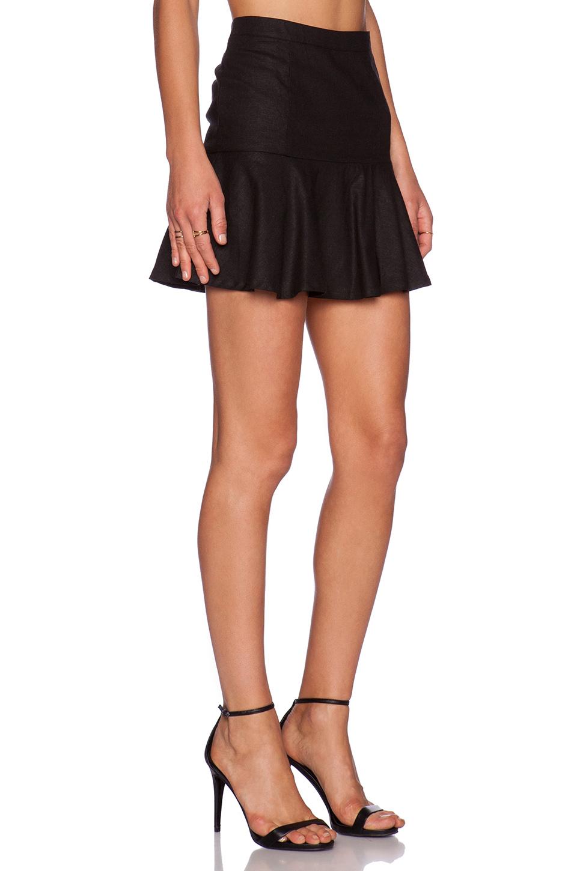 Bobi Black Stretch Linen Flare Mini Skirt in Black | Lyst