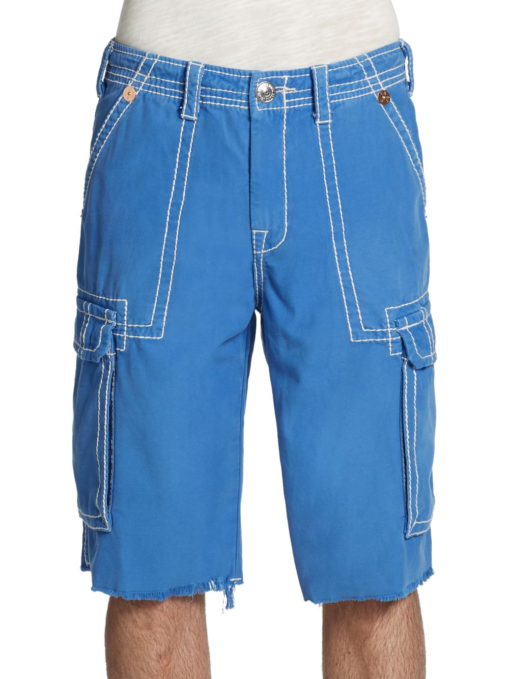 True religion Isaac Cargo Shorts in Blue for Men | Lyst