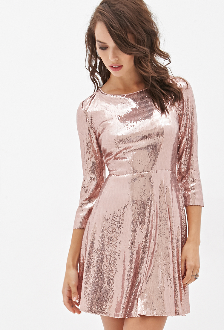 Forever 21 Sequined Skater Dress in Pink   Lyst