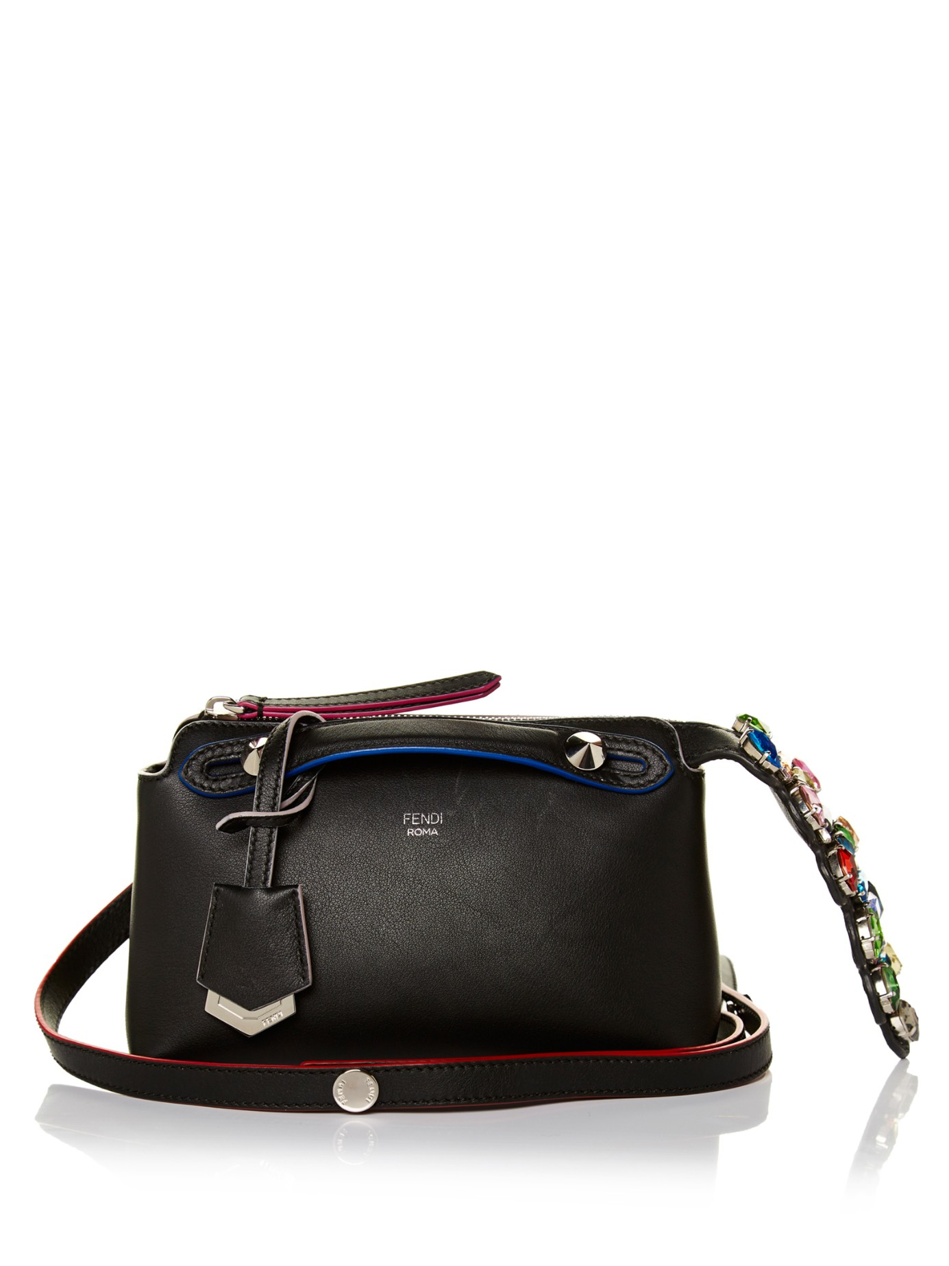 033e16fdfb80 Lyst - Fendi By The Way Mini Crystal-tail Cross-body Bag in Black