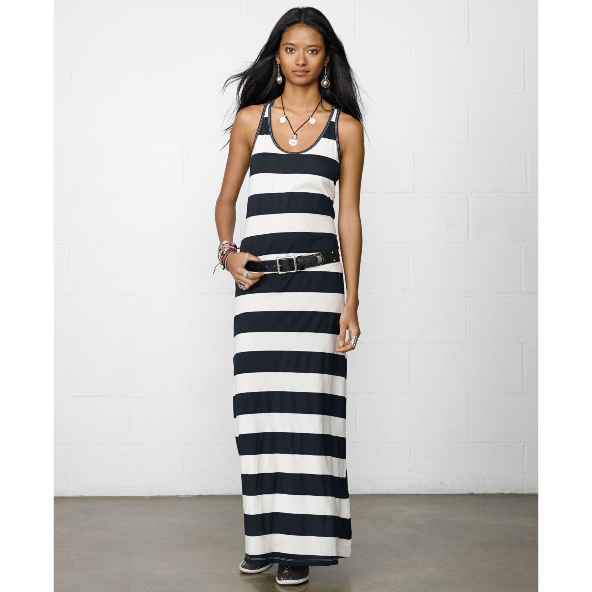 Denim &amp- supply ralph lauren Striped Maxi Tank Dress in Black - Lyst