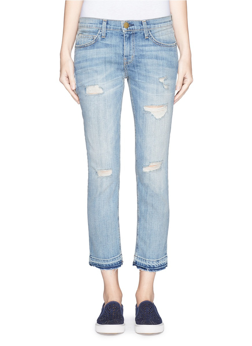 Current/elliott 'the Cropped Straight' Let Out Hem Distressed ...