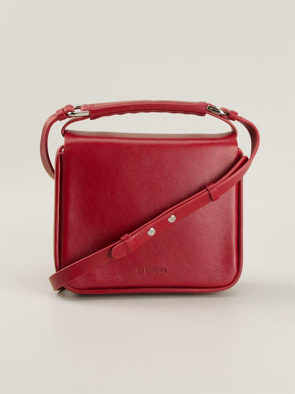 Jil sander 'Lady J' Square Shoulder Bag in Red | Lyst