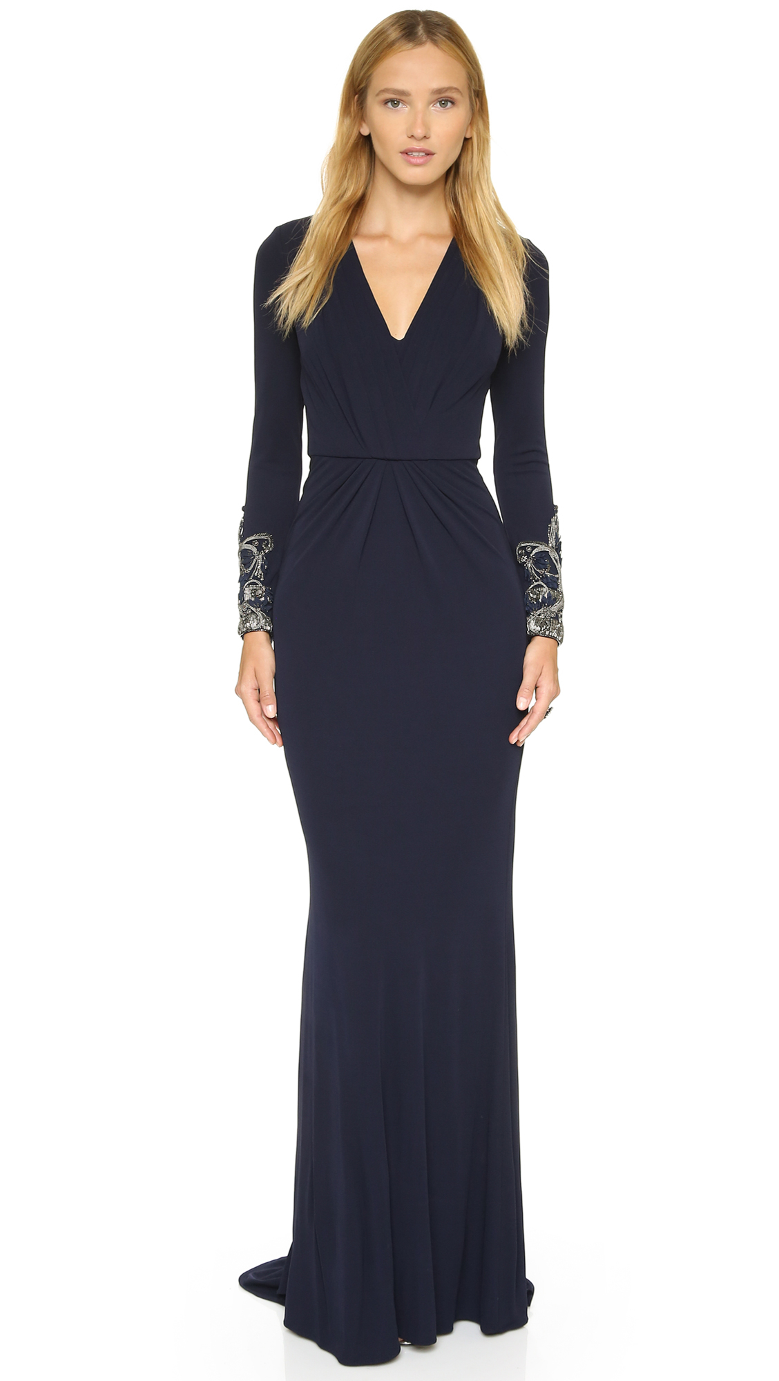 Lyst - Badgley Mischka Deep V Neck Gown in Blue
