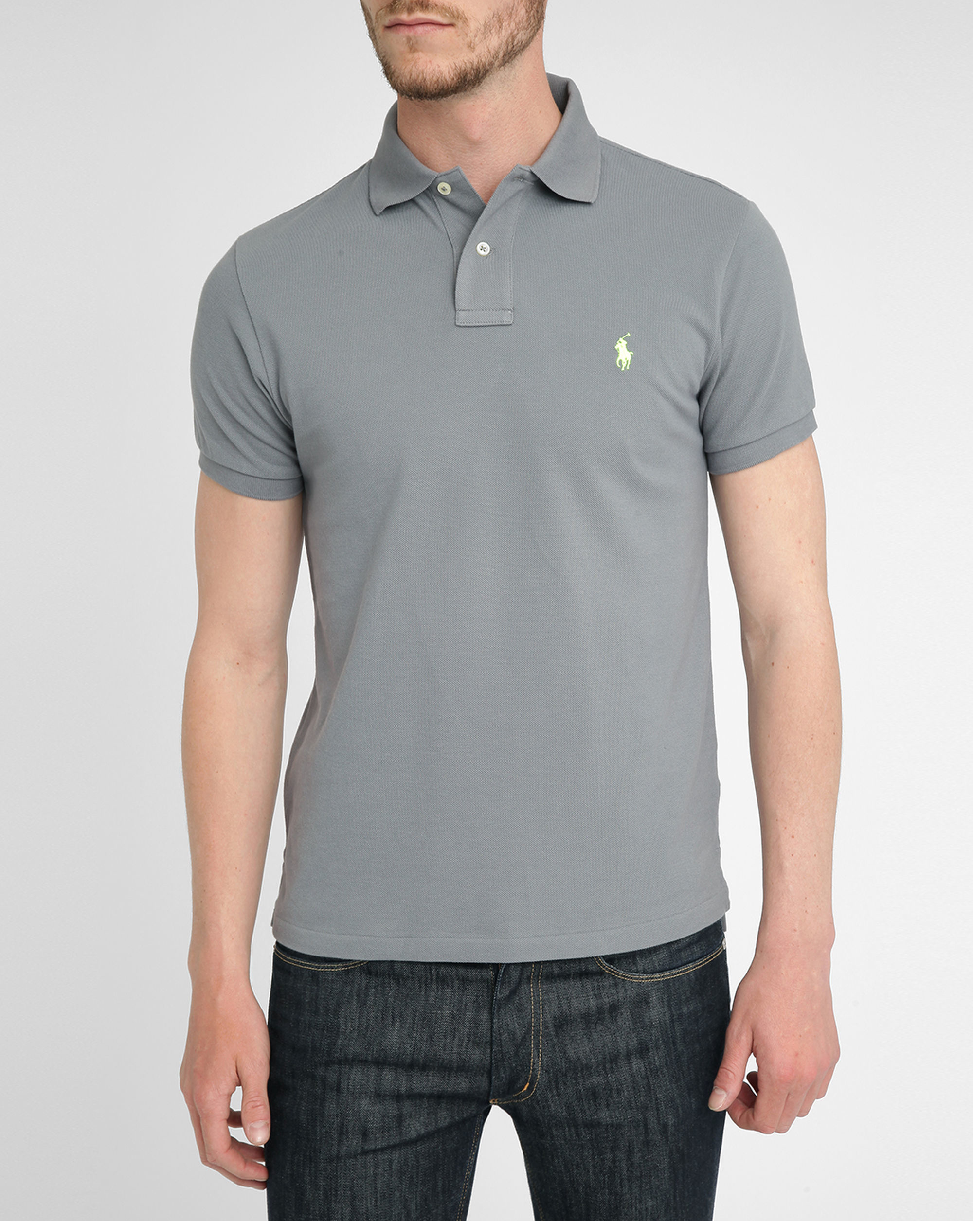 Polo ralph lauren grey slim fit polo shirt in gray for men Man in polo shirt