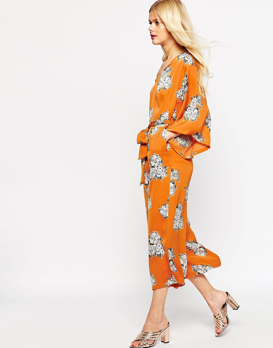 c885f7abe877 Lyst - ASOS Belted Jumpsuit With Kimono Sleeve In Floral Print in Orange