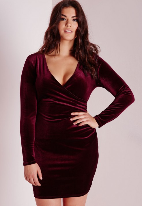 Missguided Plus Size Velvet Wrap Front Dress Burgundy In