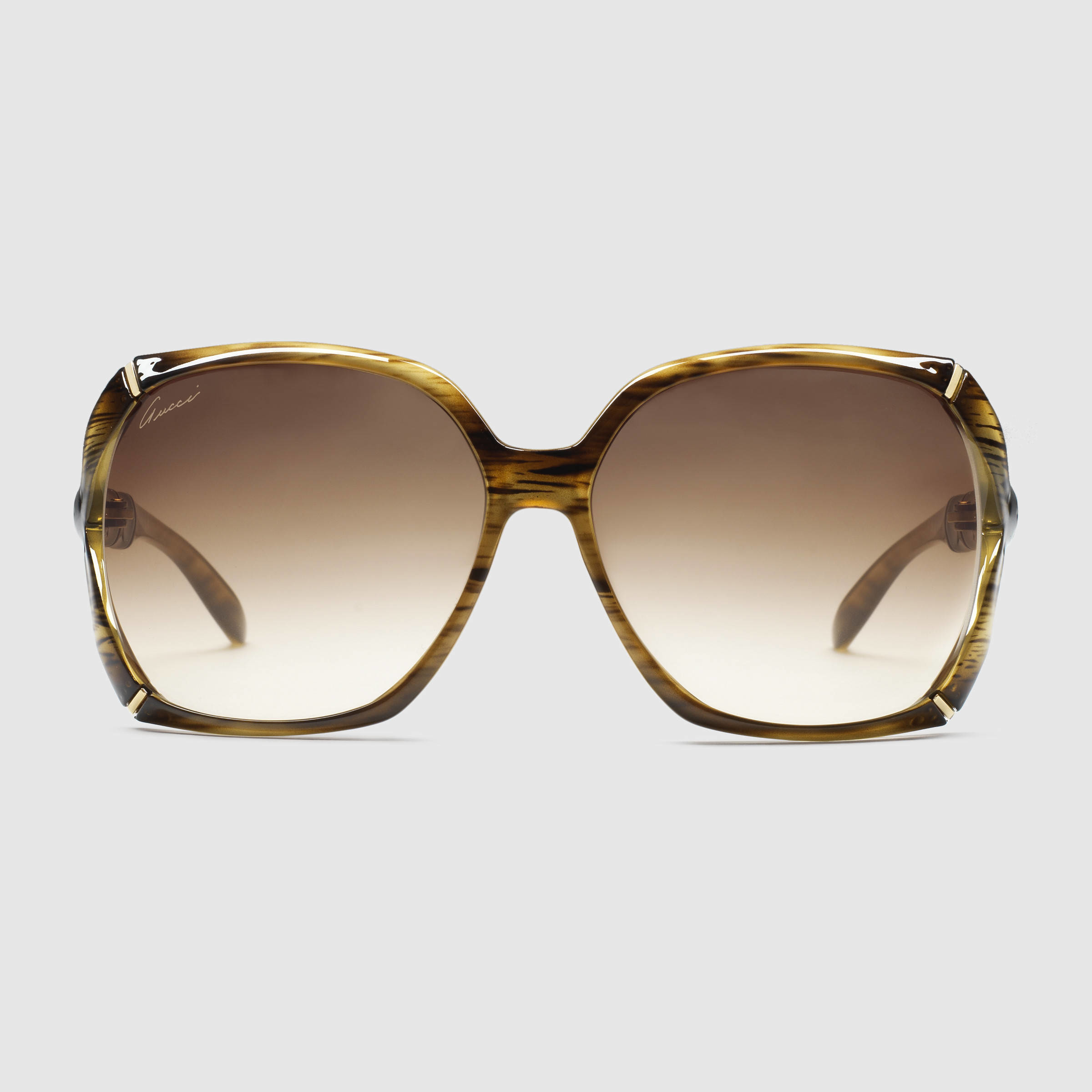 3f50f1ee571 Lyst - Gucci Square Sunglasses With Bamboo Effect in Brown