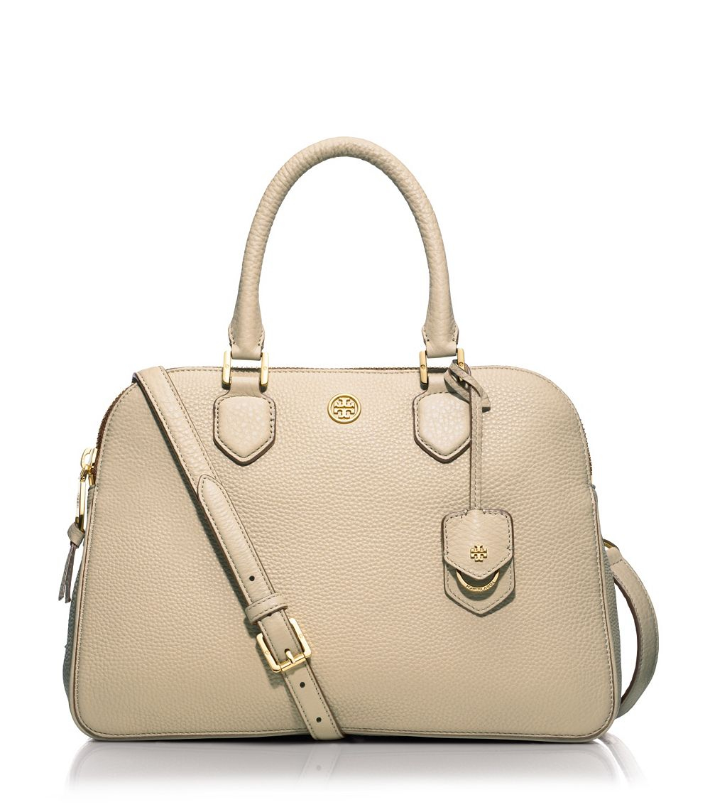 6e6ed7fdca3 ... top quality tory burch robinson pebbled triple zip satchel in natural  lyst 24d50 8f3d8