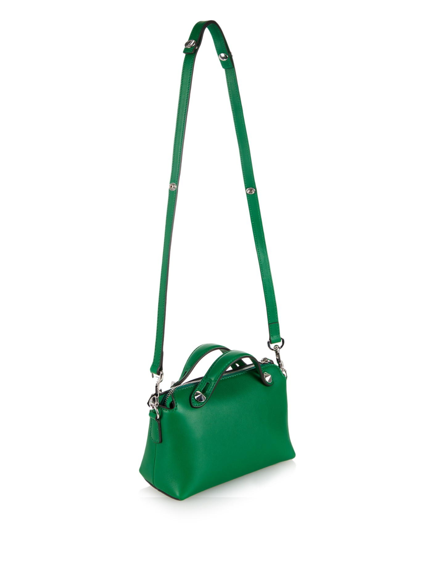 cc3a45010f ... low price lyst fendi by the way mini leather cross body bag in green  49348 b5835