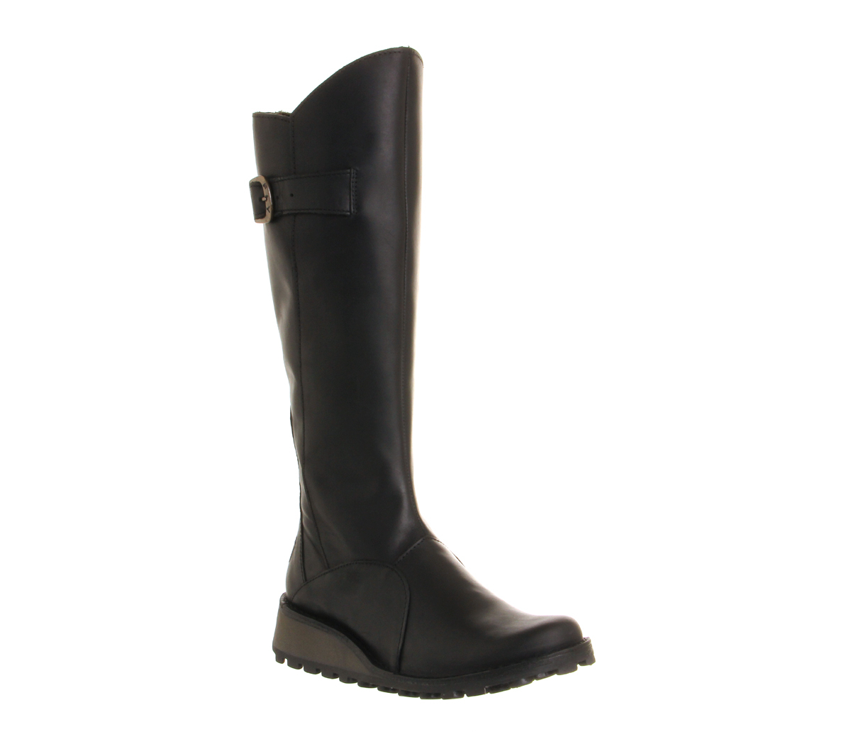 fly mol low wedge buckle boots in brown lyst
