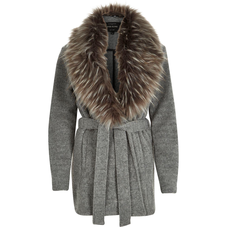 a597ef70b4 River Island Dark Grey Faux Fur Trim Jacket in Gray - Lyst