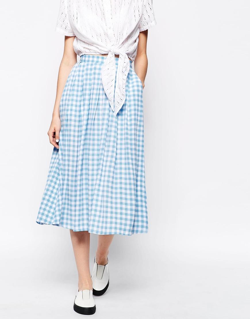 9455098c1d9 Monki Check Midi Skirt in Blue - Lyst