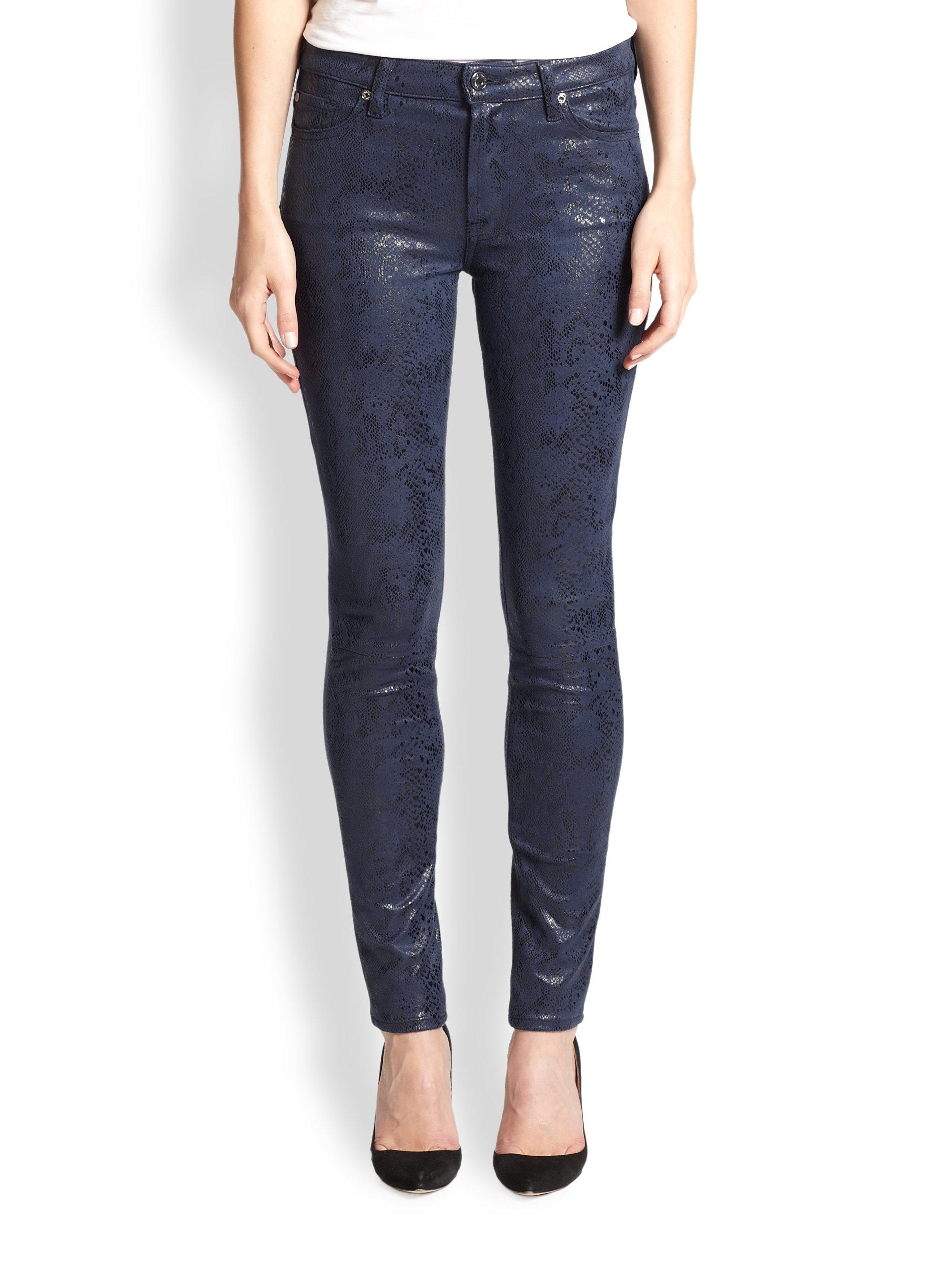 lyst 7 for all mankind coated snake print skinny jeans in blue. Black Bedroom Furniture Sets. Home Design Ideas