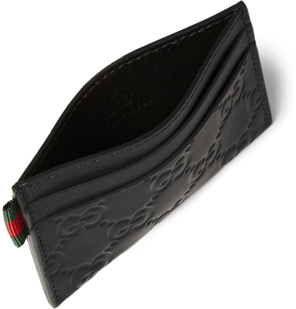 Gucci embossed coated leather cardholder in black for men lyst gallery magicingreecefo Images