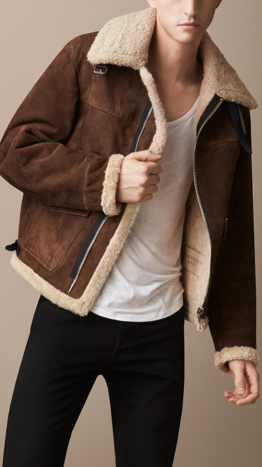 Burberry Sueded Sheepskin Aviator Jacket In Brown For Men