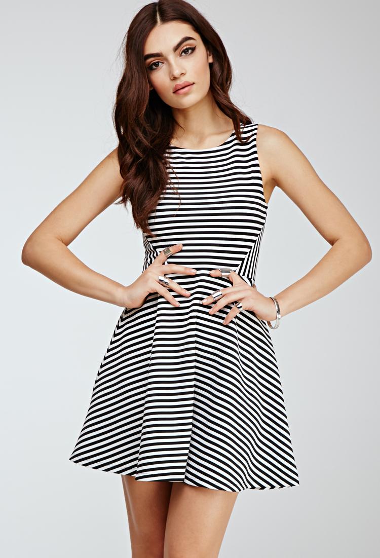Lyst - Forever 21 Flared Stripe Dress in Black