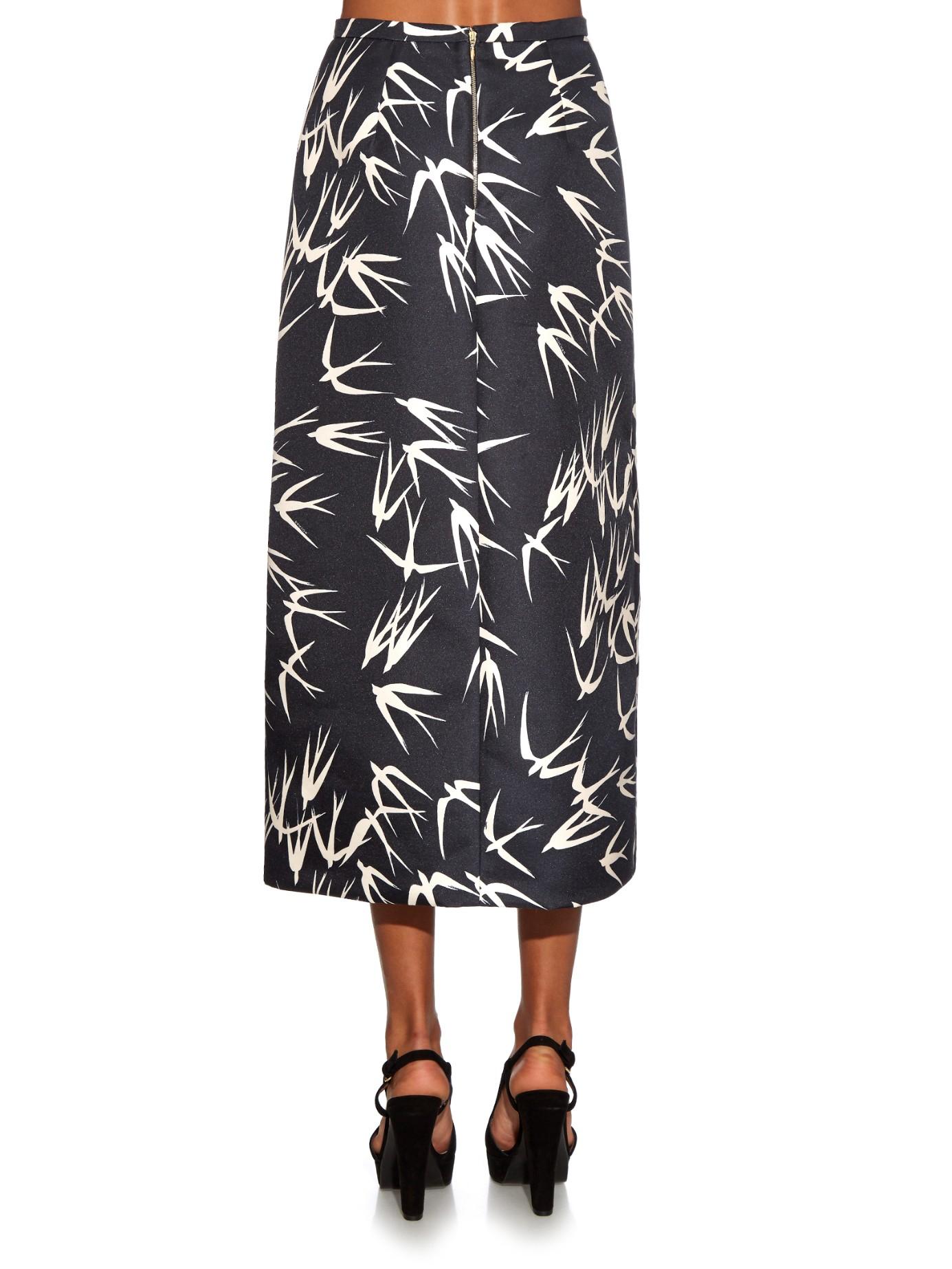 rochas print midi skirt in black lyst