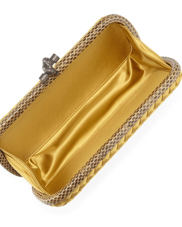 e6b0083e04 Lyst - Bottega Veneta Satin Elongated Knot Clutch Bag