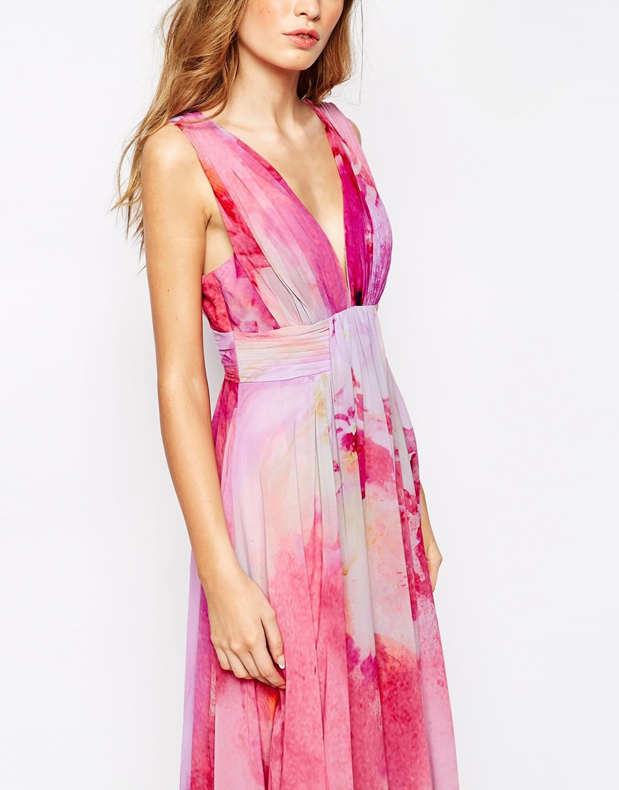 Lyst Fame Amp Partners Valencia Pleated Maxi Dress With