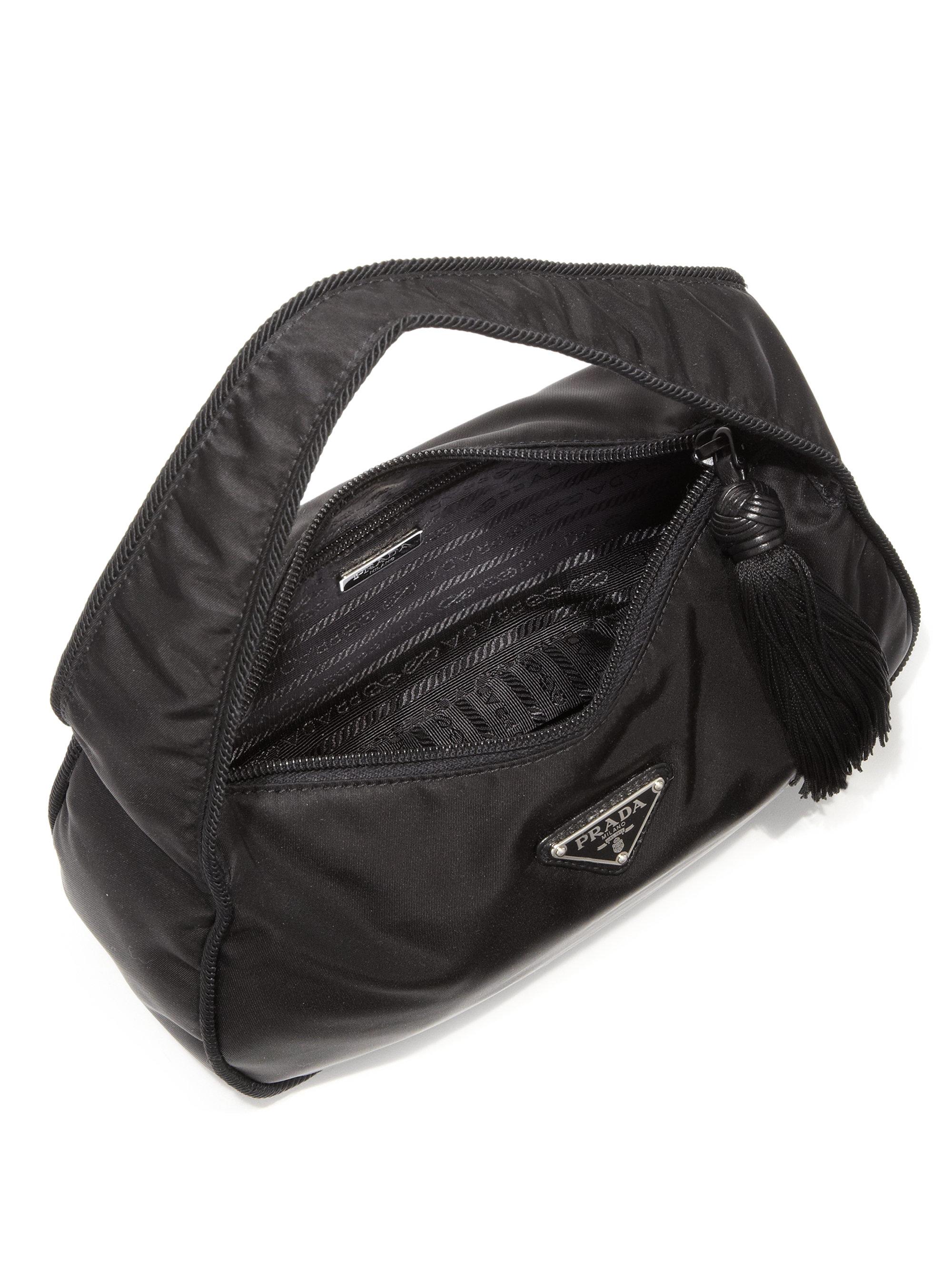 Lyst Prada Nylon Crescent Shoulder Bag In Black