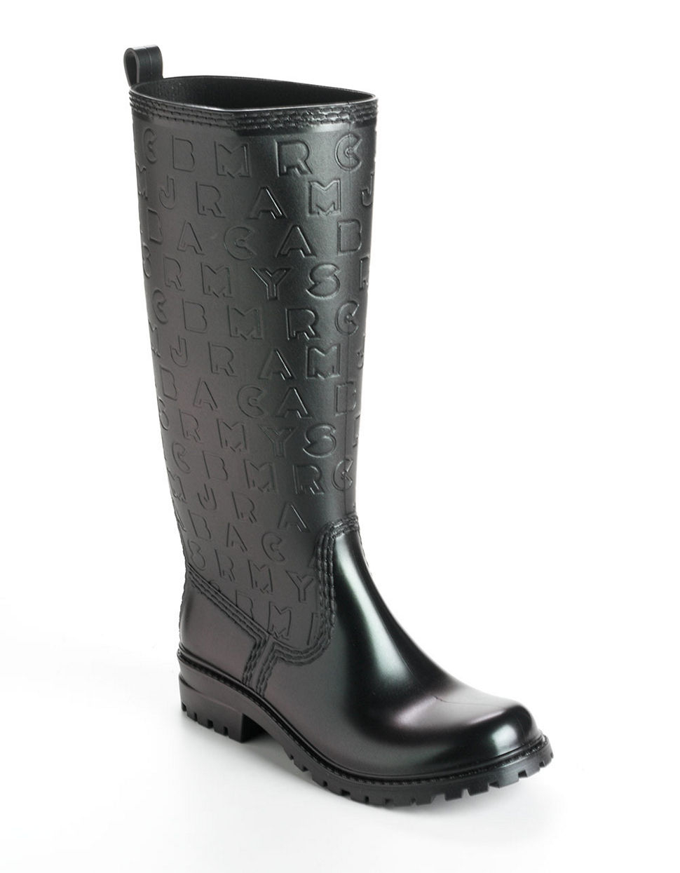 marc by marc jacobs logo glitter rain boots in black. Black Bedroom Furniture Sets. Home Design Ideas