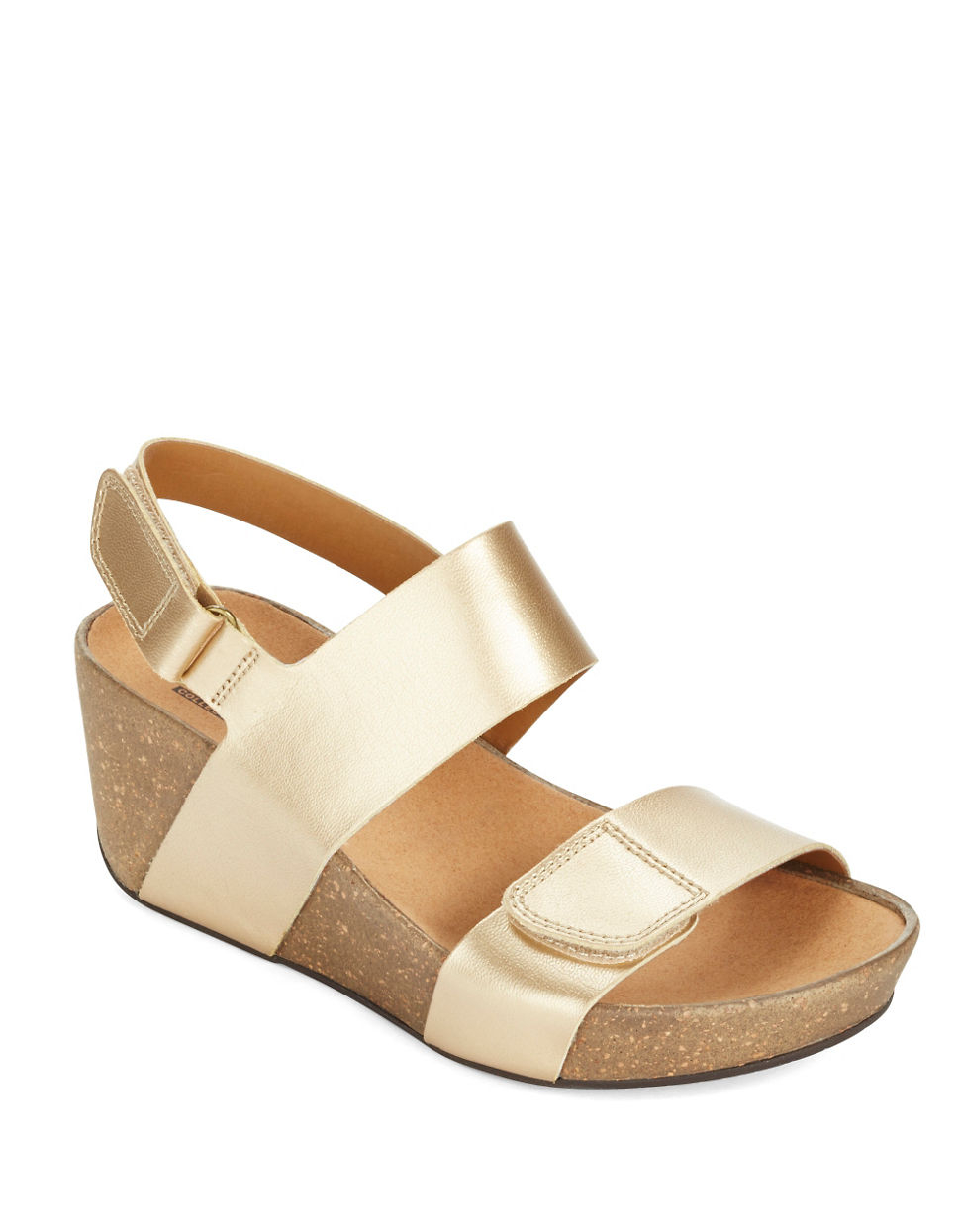 Clarks Auriel Fin Leather Wedge Sandals In Metallic Lyst